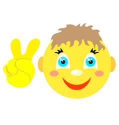 smiley boy with victoria gesture v vector image vector image