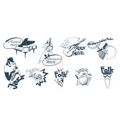 hand drawn music logotypes set vector image