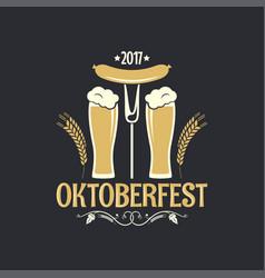 oktoberfest beer glass logo background vector image