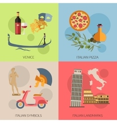 Set of Italy travel compositions with place for vector image