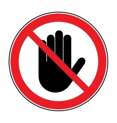 stop hand sign on white background vector image