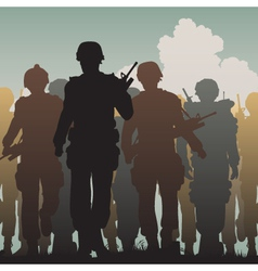 Troops walking vector image