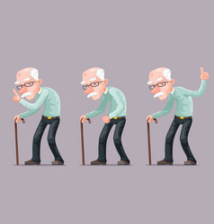 bent old man cane wise moral preaching instruction vector image vector image