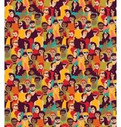 Big crowd happy people color seamless pattern vector image vector image