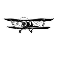 biplane retro monochrome vector image