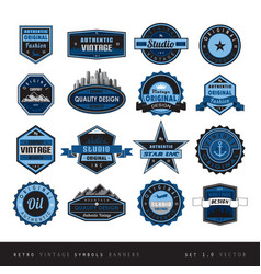 blue vintage retro labels black and white isolated vector image vector image