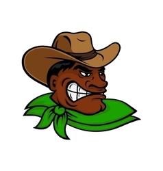 Cartoon black rodeo cowboy or rancher character vector image vector image