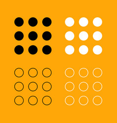 dial button set black and white icon vector image