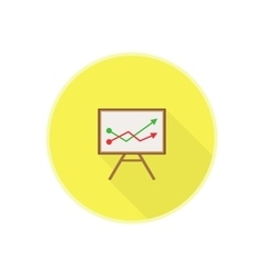 flat icon with office chalkboard Red and vector image vector image
