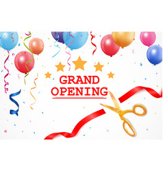 grand opening banner with confetti and cutting rib vector image vector image