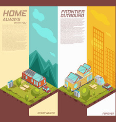 mobile house vertical isometric banners vector image