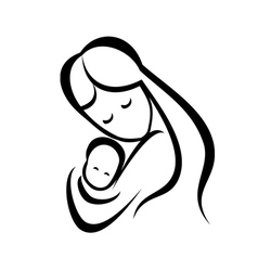 mother and her baby symbol vector image vector image