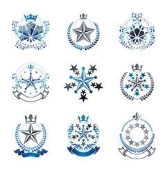 Pentagonal stars emblems set heraldic coat of vector