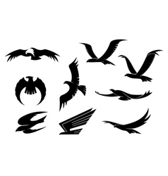 Silhouette set of flying birds vector image vector image