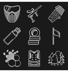White flat line icons for paintball vector image