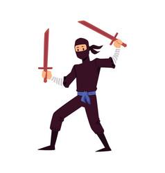 A ninja with swords on a vector
