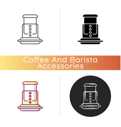 Air pressure coffee plunger icon vector