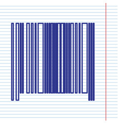 bar code sign navy line icon on notebook vector image