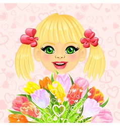 Beautiful little girl with a big bouquet vector