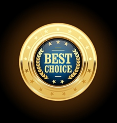 Best choice golden insignia - round medal vector image
