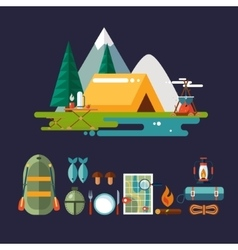 Camping and Hiking Icons Flat Design vector image