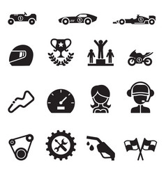 Car racing icon set vector