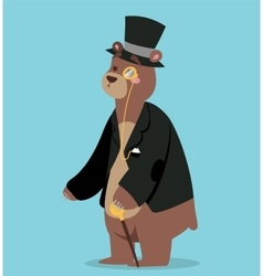 Cartoon bear business man portrait vector image