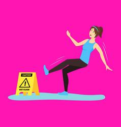 cartoon caution wet floor with character girl vector image