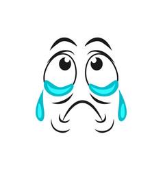 Cartoon crying face sad emoji with tears dripping vector
