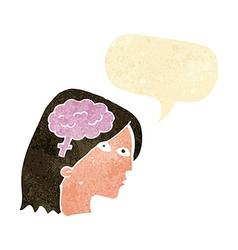 cartoon female head with brain symbol with speech vector image