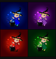 cartoon set of halloween cards with little baby vector image