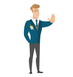 Caucasian groom showing stop hand gesture vector