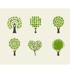 collection green tree - logos and icons vector image