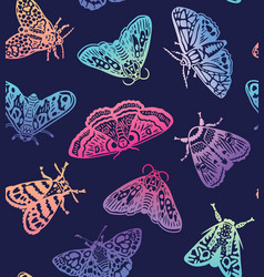 colorful moths seamless pattern decorative hand vector image