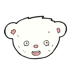 Comic cartoon polar bear face vector