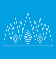 Crown icon outline style vector