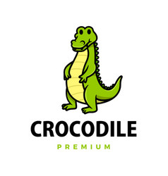 cute crocodile cartoon logo icon vector image