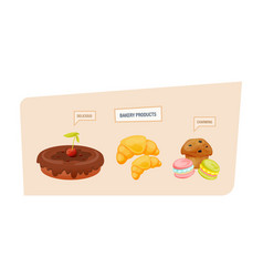 Delicious sweet cake with chocolate icing vector