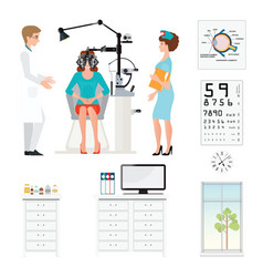 Doctor and patient at ophthalmologist with vector