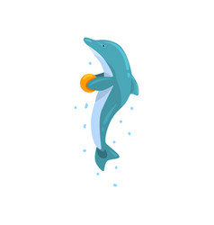 Dolphin jumping with ball sea animal performing vector