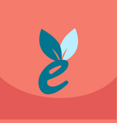 E letter eco logo safe leaf icon vector