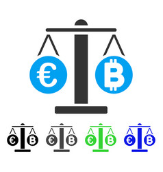 Euro and bitcoin scales flat icon vector