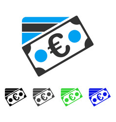Euro banknote and credit card flat icon vector
