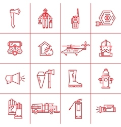 Fire department contour icons vector