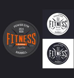 Fitness or gym sign with barbell vector
