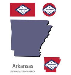 Flag and silhouette arkansas vector