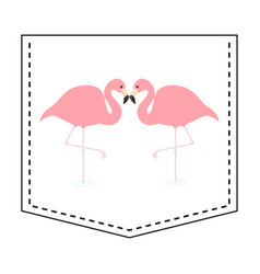 Flamingo love couple pocket print t-shirt design vector