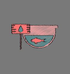 Flat shading style icon fish in an aquarium vector