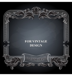 frame with floral ornament on dark vector image