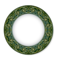 Frame with gold pattern on a green background vector